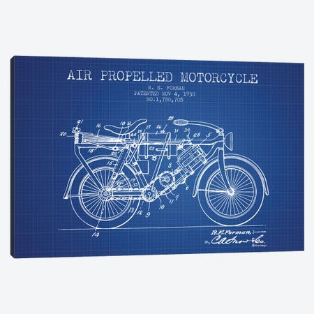 R.E. Forman Air-Propelled Motorcycle Patent Sketch (Blue Grid) Canvas Print #ADP3080} by Aged Pixel Art Print