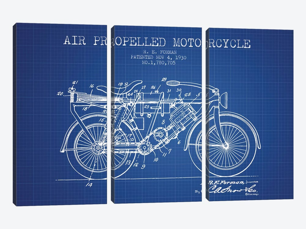 R.E. Forman Air-Propelled Motorcycle Patent Sketch (Blue Grid) by Aged Pixel 3-piece Canvas Wall Art