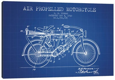 R.E. Forman Air-Propelled Motorcycle Patent Sketch (Blue Grid) Canvas Art Print