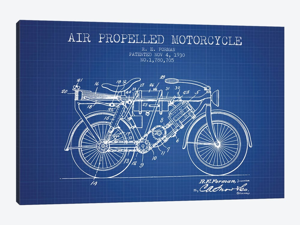 R.E. Forman Air-Propelled Motorcycle Patent Sketch (Blue Grid) by Aged Pixel 1-piece Canvas Artwork