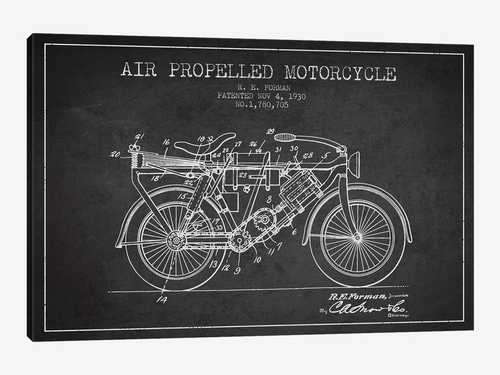 R.E. Forman Air-Propelled Motorcycle Patent Sketch (Charcoal) by Aged Pixel 1-piece Art Print