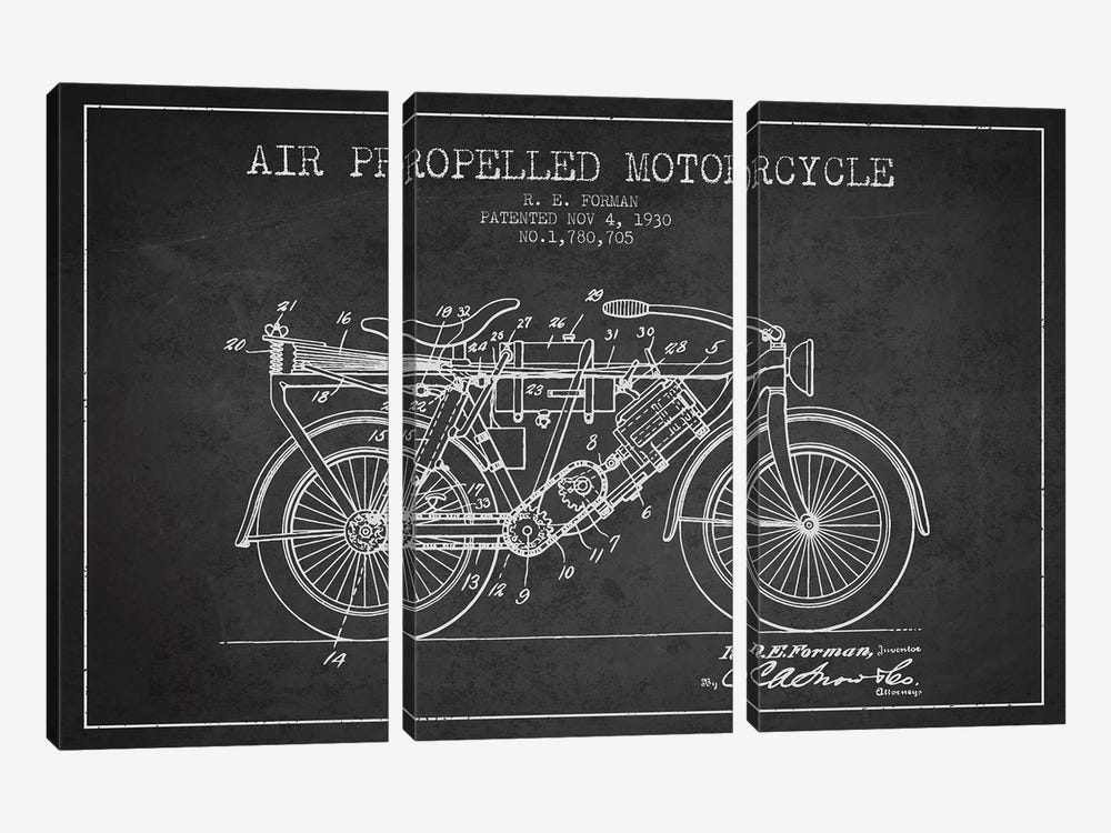 R.E. Forman Air-Propelled Motorcycle Patent Sketch (Charcoal) by Aged Pixel 3-piece Art Print