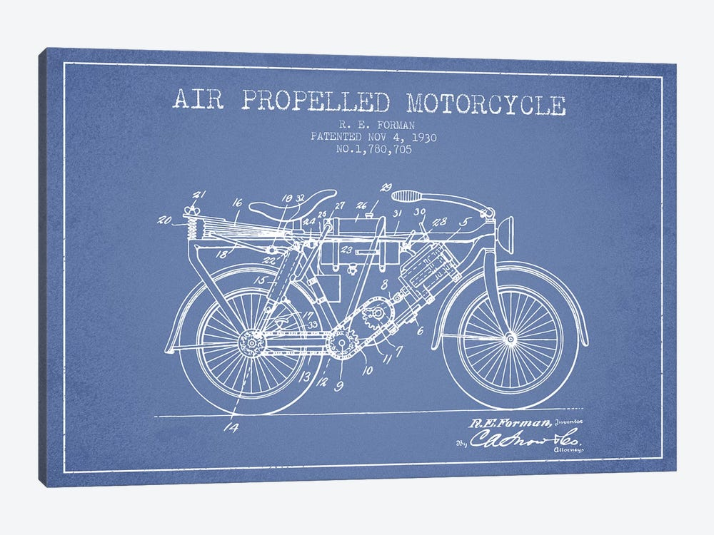 R.E. Forman Air-Propelled Motorcycle Patent Sketch (Light Blue) by Aged Pixel 1-piece Canvas Wall Art