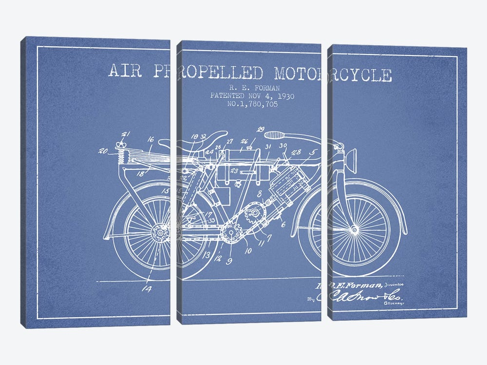 R.E. Forman Air-Propelled Motorcycle Patent Sketch (Light Blue) by Aged Pixel 3-piece Canvas Wall Art