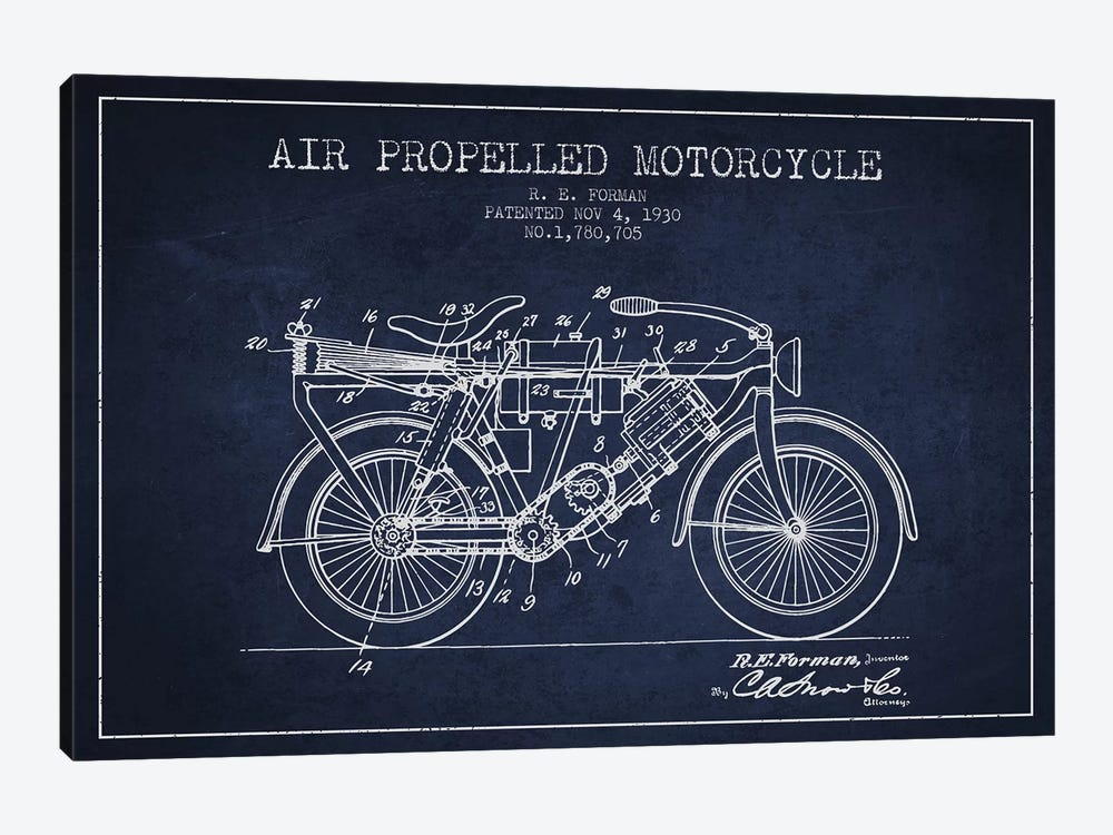 R.E. Forman Air-Propelled Motorcycle Patent Sketch (Navy Blue) by Aged Pixel 1-piece Canvas Print