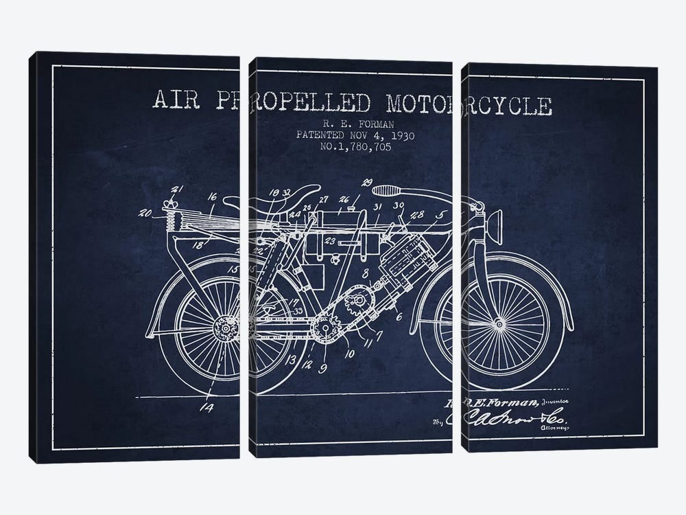 R.E. Forman Air-Propelled Motorcycle Patent Sketch (Navy Blue) by Aged Pixel 3-piece Art Print