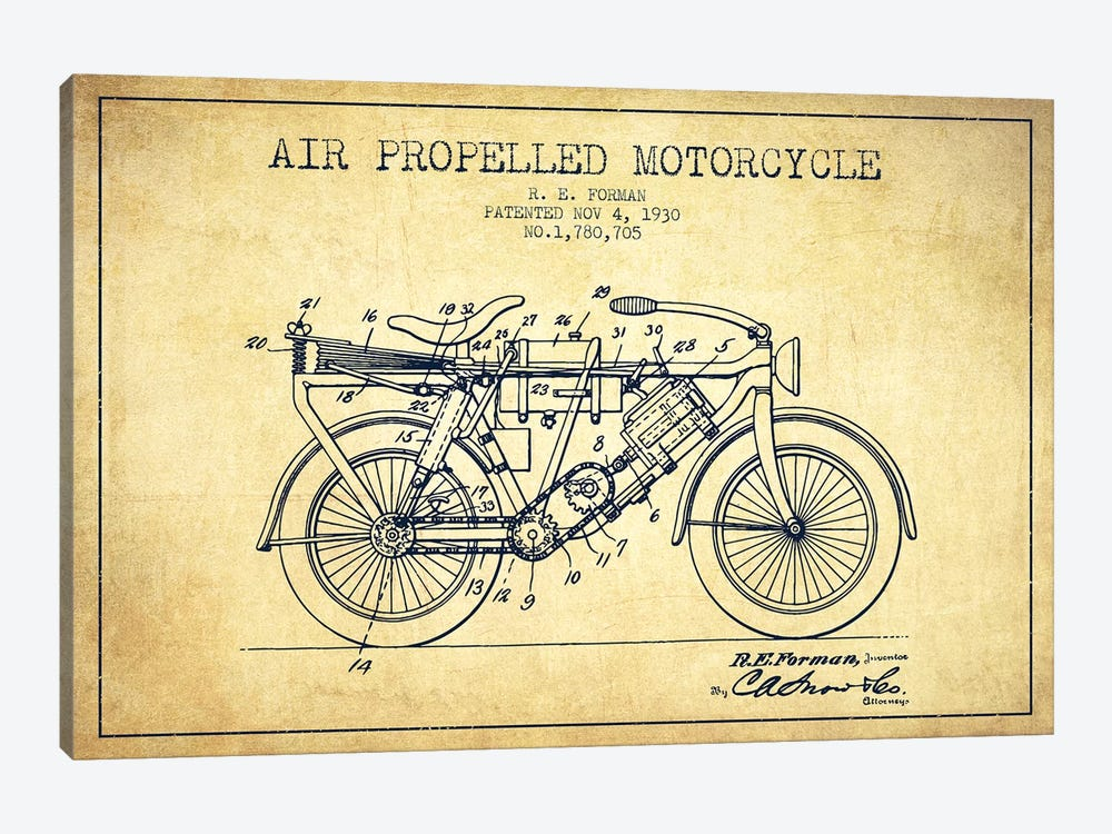 R.E. Forman Air-Propelled Motorcycle Patent Sketch (Vintage) by Aged Pixel 1-piece Canvas Art