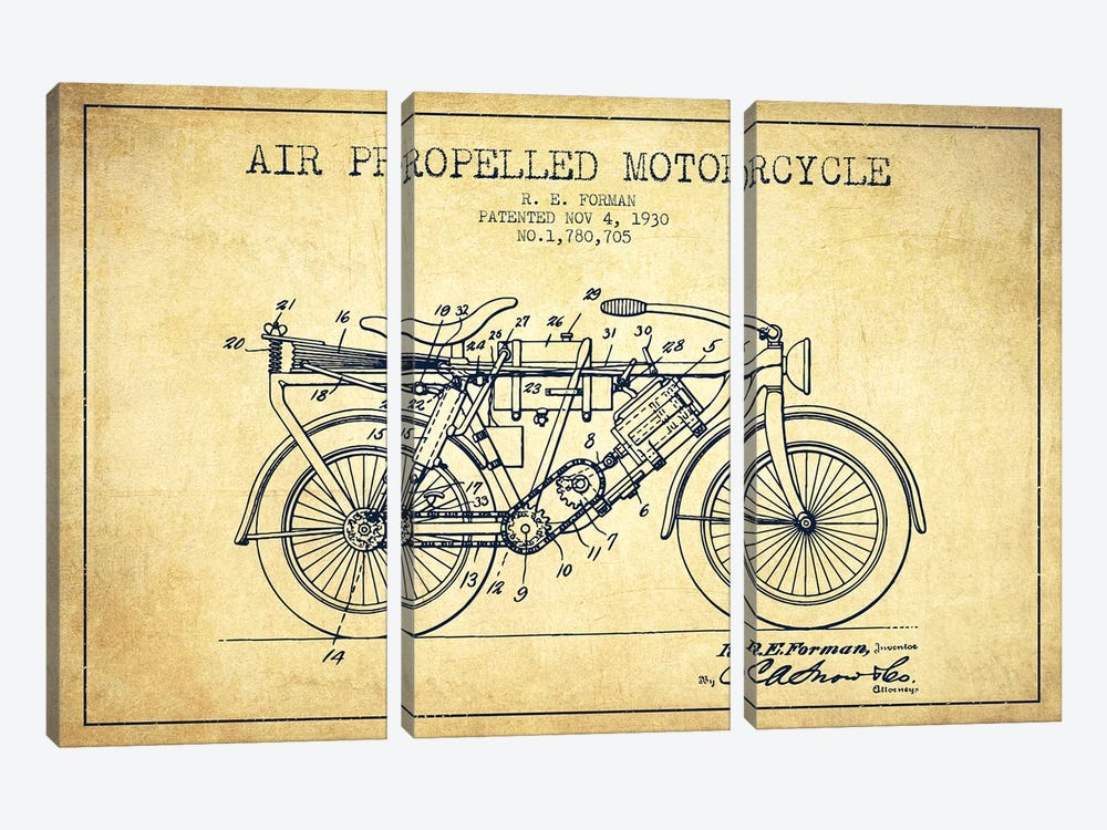 R.E. Forman Air-Propelled Motorcycle Patent Sketch (Vintage) by Aged Pixel 3-piece Canvas Art