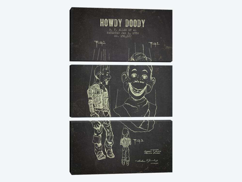 R.Y. Allen et al. Howdy Doody Patent Sketch (Charcoal) 3-piece Canvas Artwork