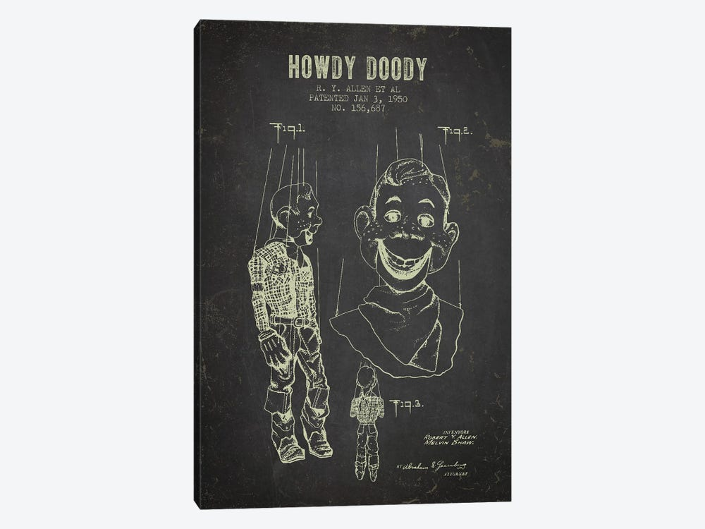 R.Y. Allen et al. Howdy Doody Patent Sketch (Charcoal) by Aged Pixel 1-piece Canvas Wall Art