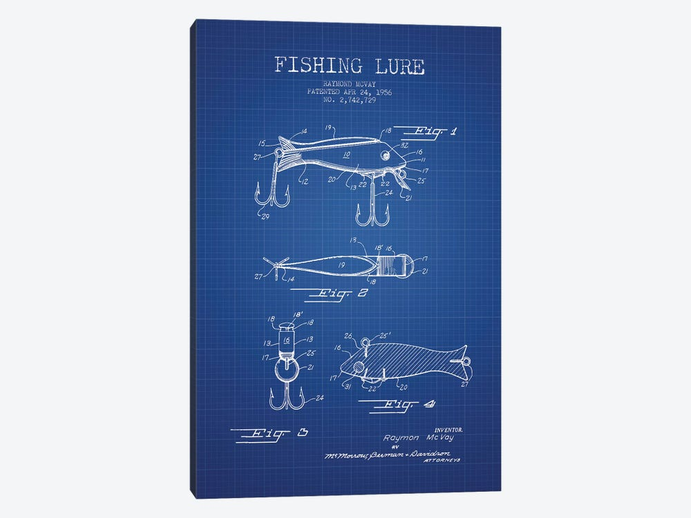 Raymond McVay Fishing Lure Patent Sketch (Blue Grid) I 1-piece Art Print