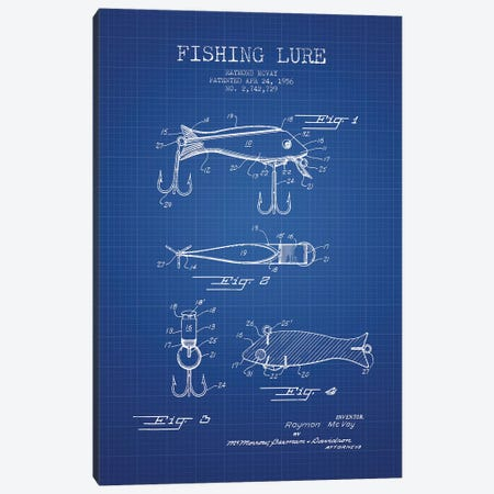 Raymond McVay Fishing Lure Patent Sketch (Blue Grid) I Canvas Print #ADP3089} by Aged Pixel Canvas Art Print