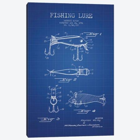 Raymond McVay Fishing Lure Patent Sketch (Blue Grid) I Canvas Print #ADP3089} by Aged Pixel Canvas Art Print