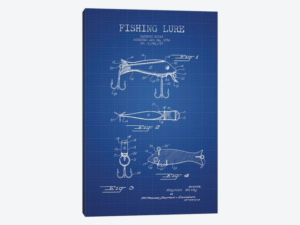 Raymond McVay Fishing Lure Patent Sketch (Blue Grid) I by Aged Pixel 1-piece Art Print
