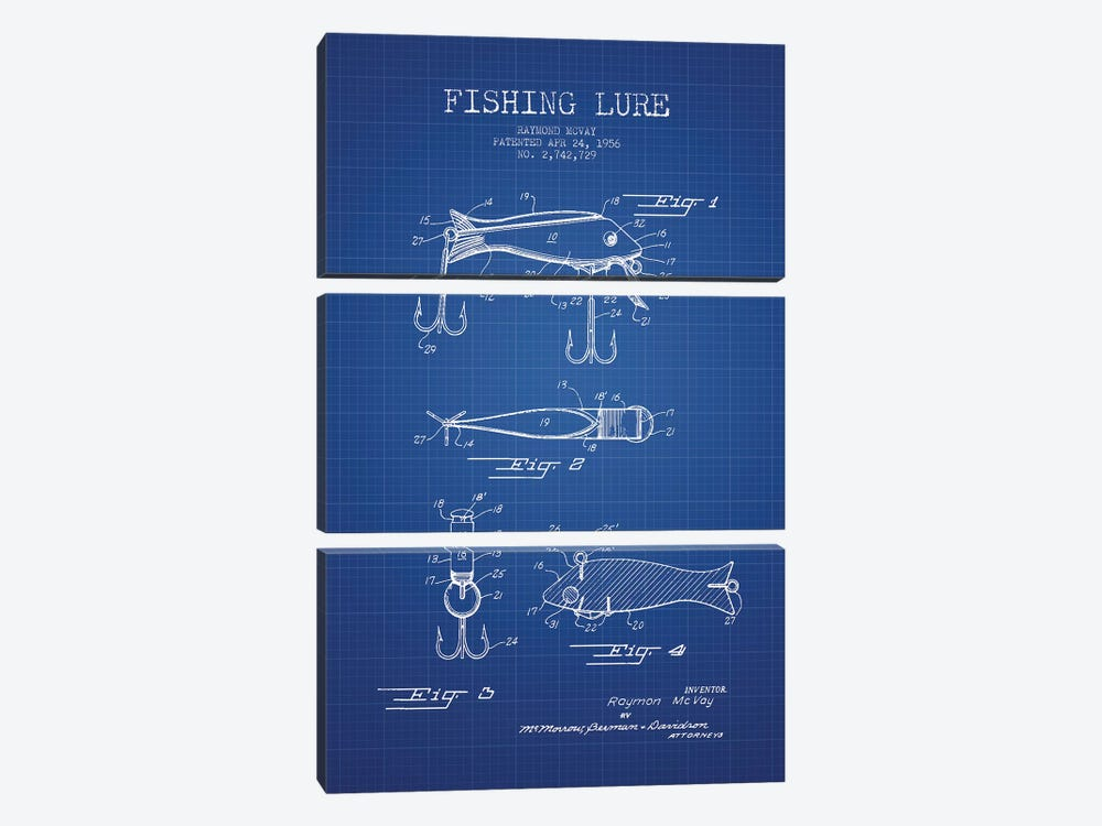Raymond McVay Fishing Lure Patent Sketch (Blue Grid) I by Aged Pixel 3-piece Canvas Art Print