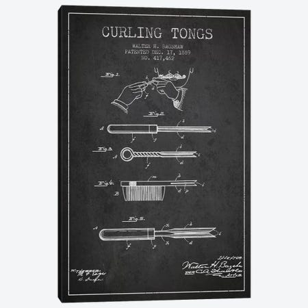 Curling Tongs Charcoal Patent Blueprint Canvas Print #ADP308} by Aged Pixel Canvas Artwork
