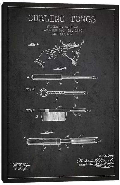 Curling Tongs Charcoal Patent Blueprint Canvas Art Print