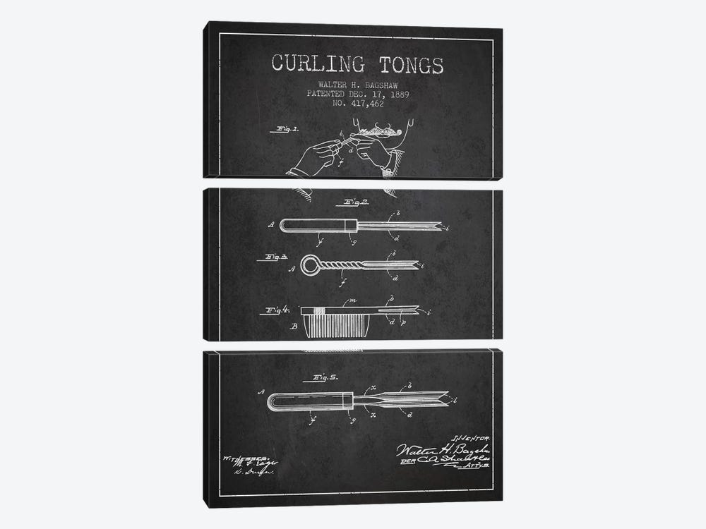 Curling Tongs Charcoal Patent Blueprint by Aged Pixel 3-piece Canvas Art Print