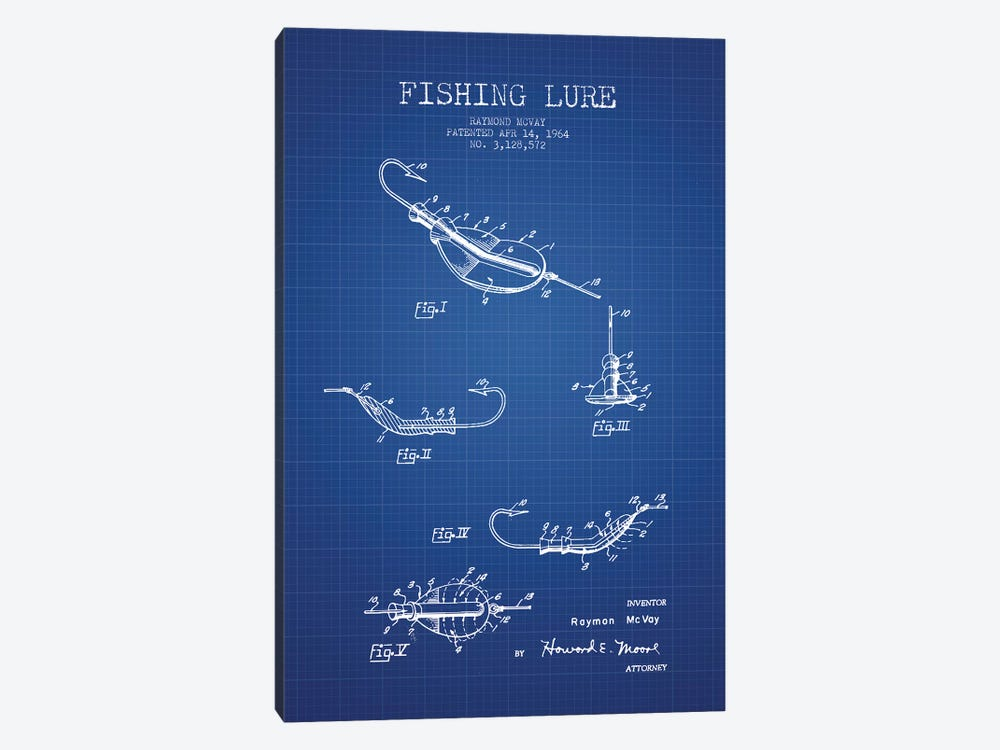 Raymond McVay Fishing Lure Patent Sketch (Blue Grid) II 1-piece Canvas Print