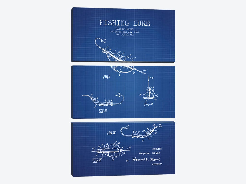 Raymond McVay Fishing Lure Patent Sketch (Blue Grid) II by Aged Pixel 3-piece Art Print