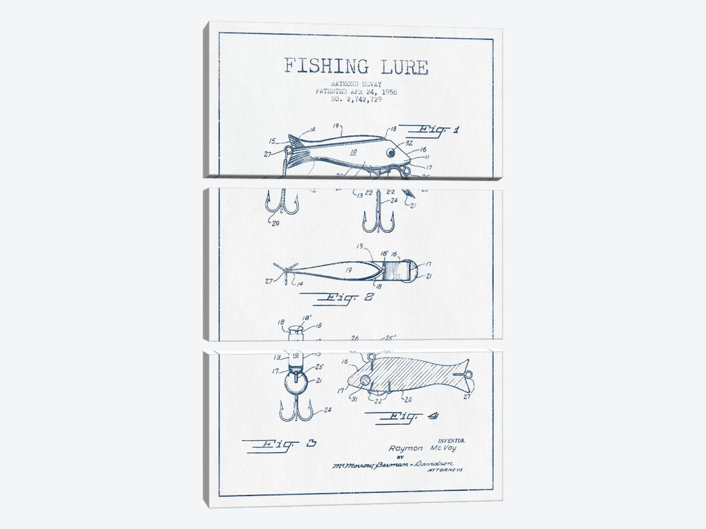 Raymond McVay Fishing Lure Patent Sketch (Ink) I by Aged Pixel 3-piece Canvas Print