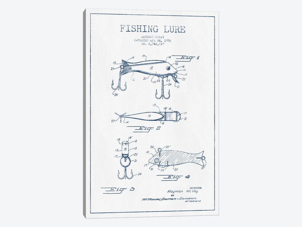 Raymond McVay Fishing Lure Patent Sketch (Ink) I by Aged Pixel 1-piece Canvas Art Print