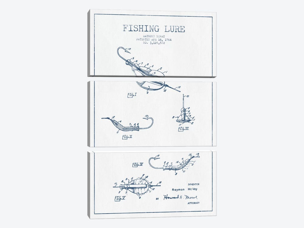 Raymond McVay Fishing Lure Patent Sketch (Ink) II by Aged Pixel 3-piece Canvas Artwork
