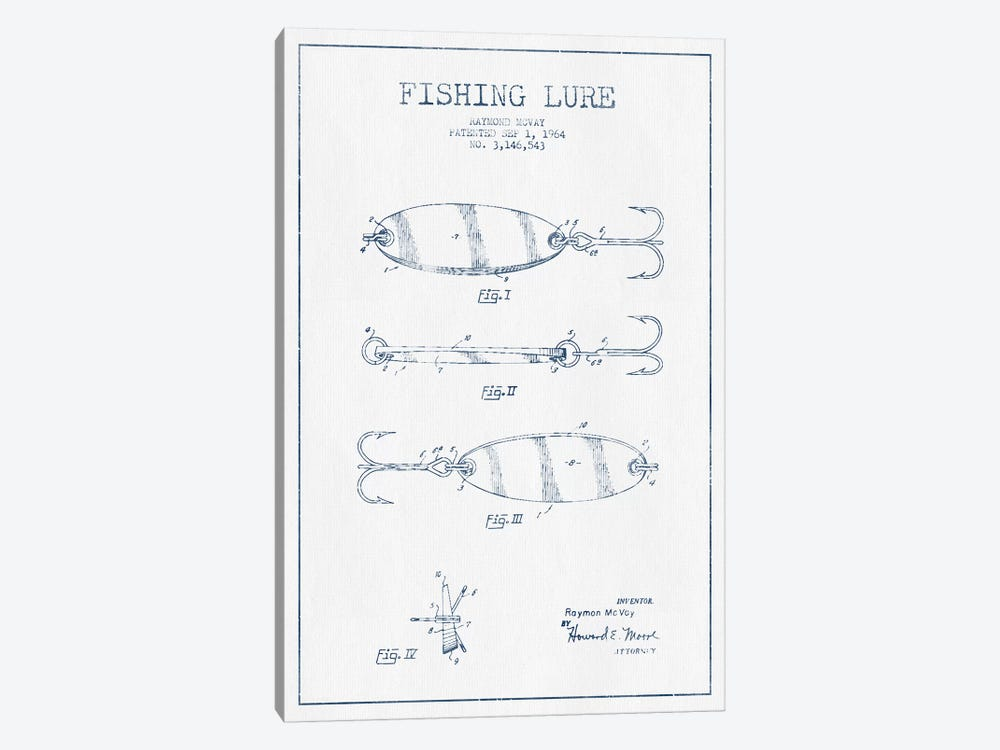 Raymond McVay Fishing Lure Patent Sketch (Ink) III by Aged Pixel 1-piece Canvas Art Print
