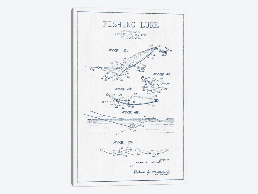 Raymond McVay Fishing Lure Patent Sketch (Ink) IV by Aged Pixel 1-piece Canvas Art