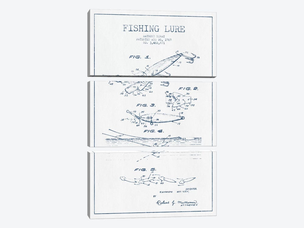 Raymond McVay Fishing Lure Patent Sketch (Ink) IV by Aged Pixel 3-piece Canvas Art
