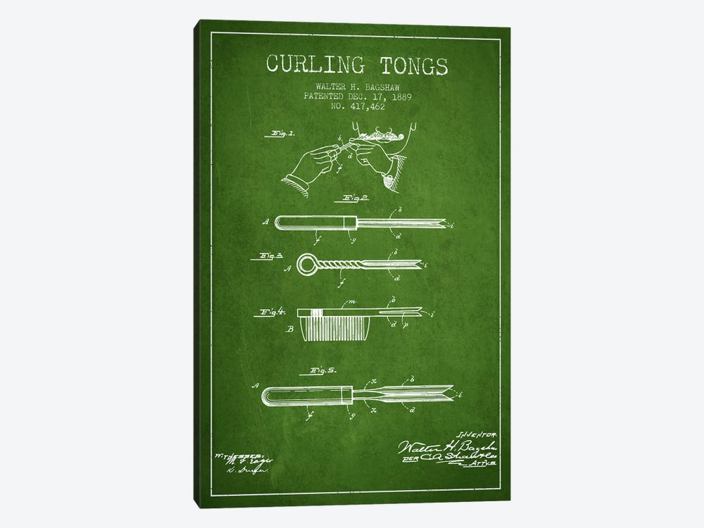 Curling Tongs Green Patent Blueprint by Aged Pixel 1-piece Canvas Art