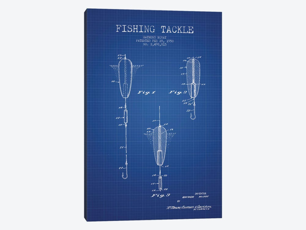 Raymond McVay Fishing Tackle Patent Sketch (Blue Grid) by Aged Pixel 1-piece Canvas Art Print