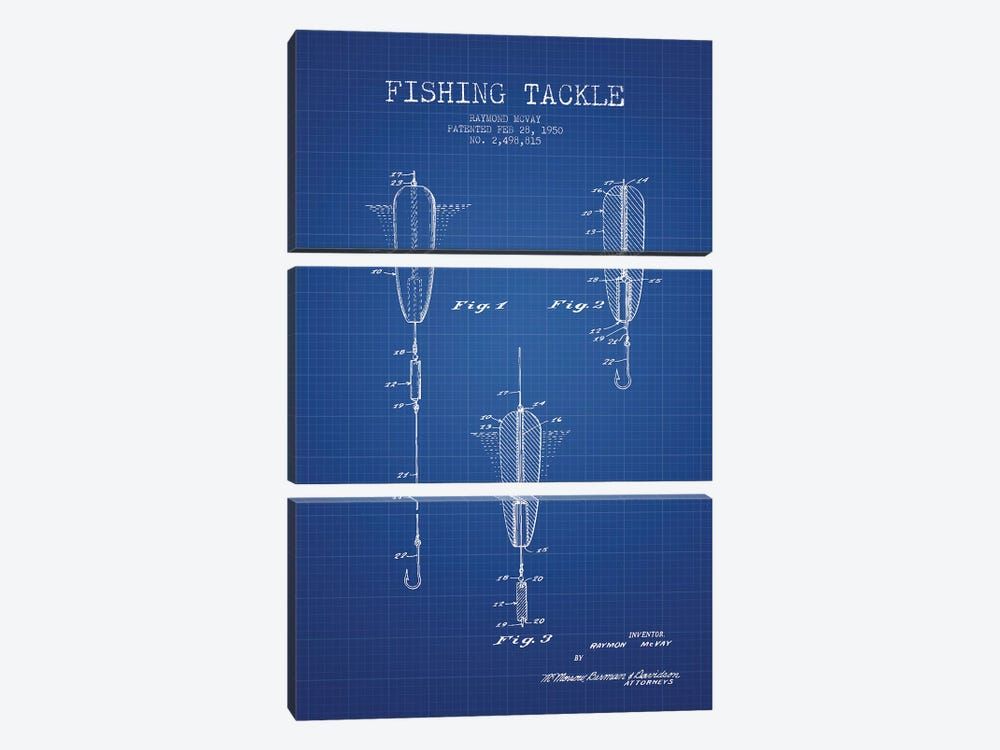 Raymond McVay Fishing Tackle Patent Sketch (Blue Grid) by Aged Pixel 3-piece Canvas Art Print