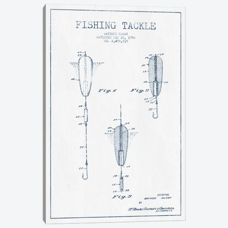 Raymond McVay Fishing Tackle Patent Sketch (Ink) Canvas Print #ADP3101} by Aged Pixel Canvas Artwork