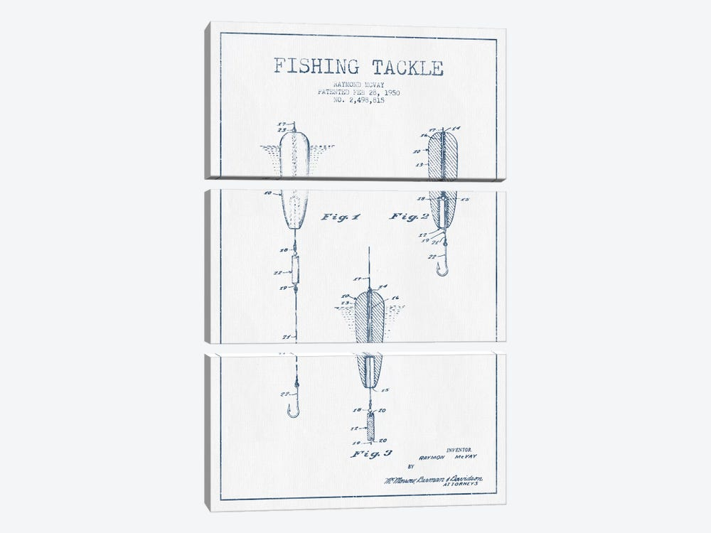 Raymond McVay Fishing Tackle Patent Sketch (Ink) by Aged Pixel 3-piece Canvas Wall Art
