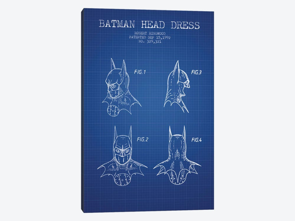 Robert Ringwood Batman Head Dress Patent Sketch (Blue Grid) 1-piece Art Print
