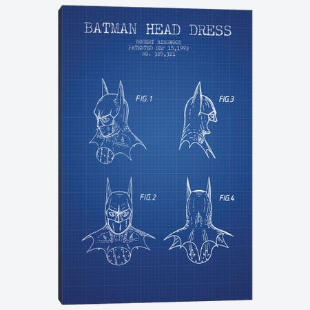 Robert Ringwood Batman Head Dress Patent Sketch (Blue Grid) 3-Piece Canvas #ADP3104} by Aged Pixel Art Print