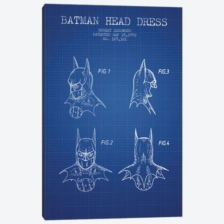 Robert Ringwood Batman Head Dress Patent Sketch (Blue Grid) Canvas Print #ADP3104} by Aged Pixel Art Print