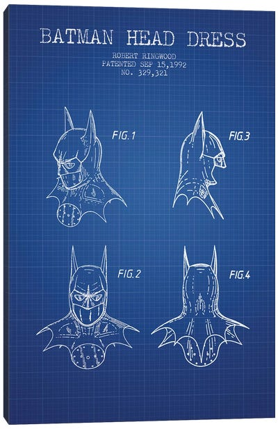 Robert Ringwood Batman Head Dress Patent Sketch (Blue Grid) Canvas Art Print