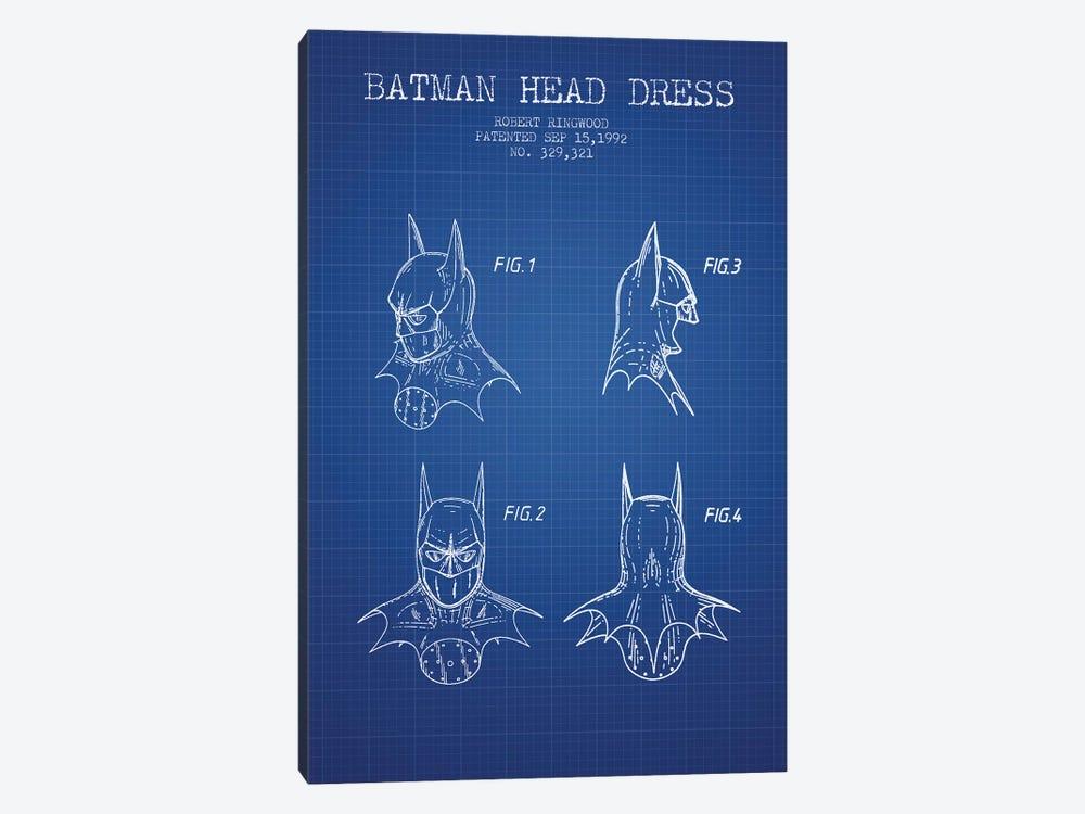 Robert Ringwood Batman Head Dress Patent Sketch (Blue Grid) by Aged Pixel 1-piece Art Print