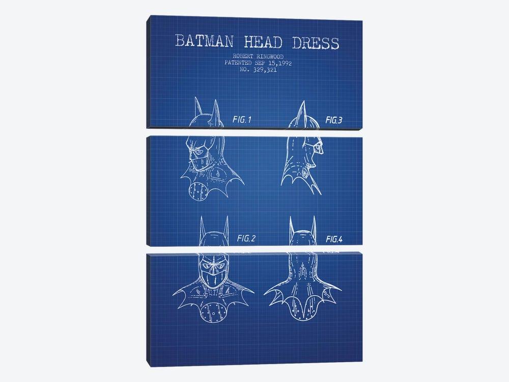 Robert Ringwood Batman Head Dress Patent Sketch (Blue Grid) by Aged Pixel 3-piece Canvas Art Print