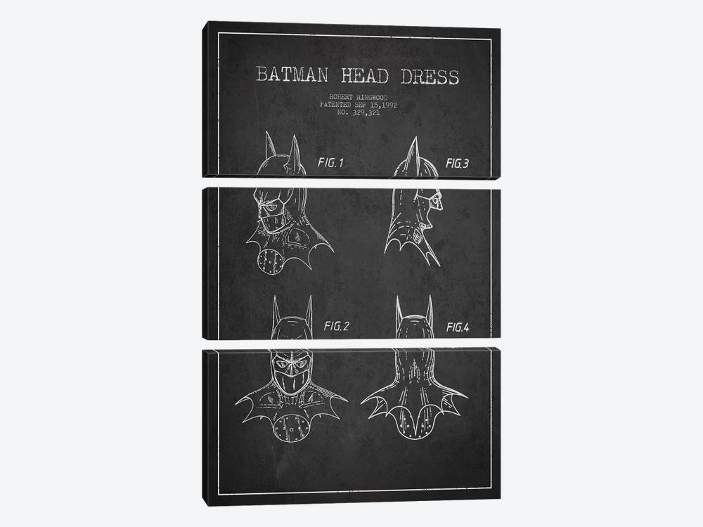 Robert Ringwood Batman Head Dress Patent Sketch (Charcoal) by Aged Pixel 3-piece Canvas Artwork