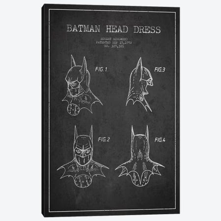Robert Ringwood Batman Head Dress Patent Sketch (Charcoal) 3-Piece Canvas #ADP3105} by Aged Pixel Art Print
