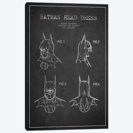 Robert Ringwood Batman Head Dress Patent Sketch (Charcoal) Canvas Print #ADP3105} by Aged Pixel Art Print