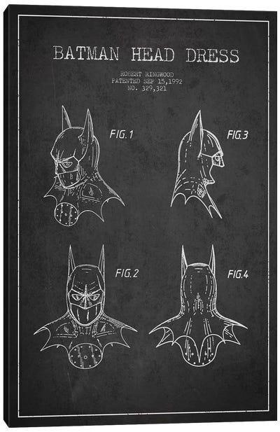 Robert Ringwood Batman Head Dress Patent Sketch (Charcoal) Canvas Art Print
