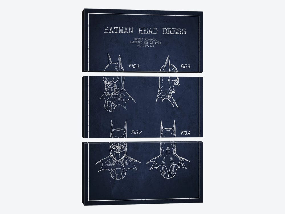 Robert Ringwood Batman Head Dress Patent Sketch (Navy Blue) by Aged Pixel 3-piece Canvas Print