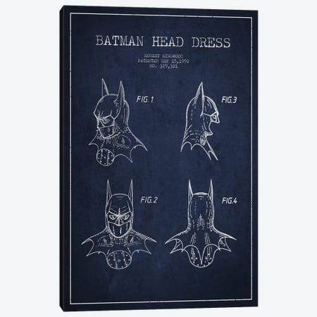Robert Ringwood Batman Head Dress Patent Sketch (Navy Blue) 3-Piece Canvas #ADP3106} by Aged Pixel Art Print
