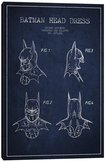 Robert Ringwood Batman Head Dress Patent Sketch (Navy Blue) Canvas Art Print