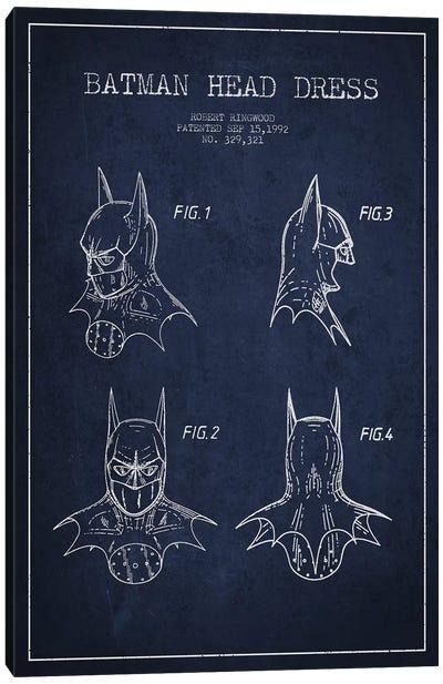 Robert Ringwood Batman Head Dress Patent Sketch (Navy Blue) Canvas Art Print