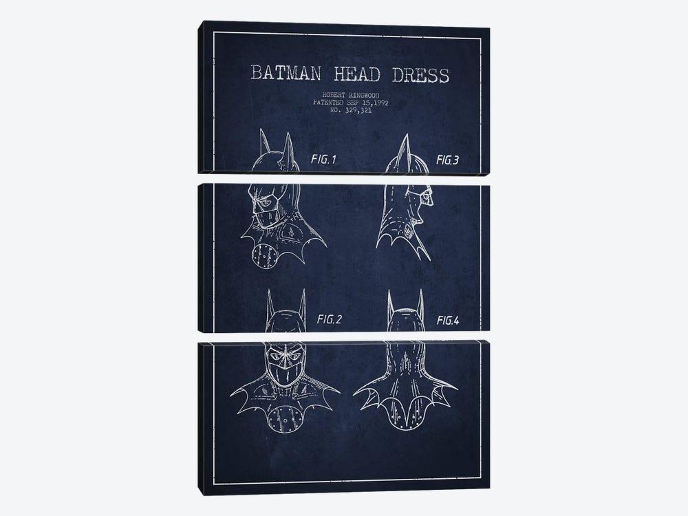 Robert Ringwood Batman Head Dress Patent Sketch (Navy Blue) by Aged Pixel 3-piece Canvas Print